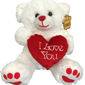 Teddy Bear in White with I Love You heart